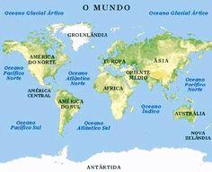 mapa dos continentes do mundo | Mapa Mundi ou planisfério | Ao.Vivo.Net