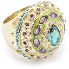 "ABS By Allen Schwartz ""A Passage To India"" Multi-Color Crystal Ring, Size 7  Amazon Price $85.00"