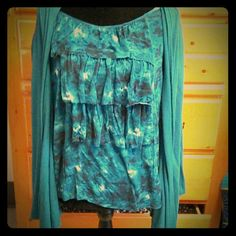 Two and one blouse with long sleeve jacket The blouse and jacket is all in one Other