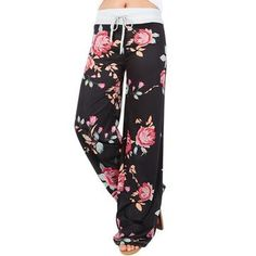Casual Womens Floral Printed Drawstring Wide Leg Pants 2017 New Summer Hot Sale Fashion Girls Loose Pants Femme Loose Pants, Wide Leg Pants, Loose Fit, Leggings Are Not Pants, Black Leggings, Girls Leggings, Printed Leggings, Leggings Negros, Pantalon Long