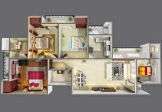 4 Bedroom Apartment/House Plans  20) furniture-layout-ideas