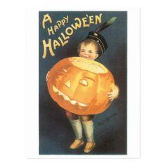 Old-fashioned Halloween Boy holding Pumpkin Postcard - boy gifts gift ideas diy unique