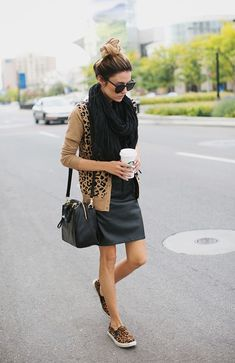 6 Month Salvation - 3 Ways to Style A Faux Leather Dress (Hello Fashion) Mode Outfits, Fall Outfits, Fashion Outfits, Womens Fashion, Teen Fashion, Fashion Ideas, Summer Outfits, Leopard Print Shoes, Leopard Sneakers Outfit