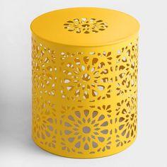 Lemon Yellow Metal Soleil Drum Stool | World Market