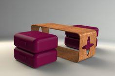 Cork coffee table + floor pillows