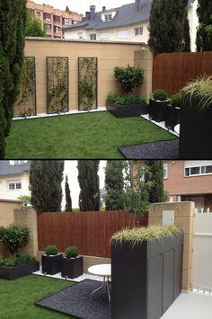 Las jardineras proporcionan un diseño muy estilizado y actúan como punto focal. Las plantas proporcionan el contrapunto de delicadeza. Por Casla Jardineria y Paisajismo