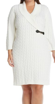 Pair this cozy dress with tights and boots for a warm, chic look. | Calvin Klein sweater dress