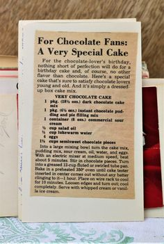 Very Chocolate Cake With Dark Chocolate Cake Mix, Instant Chocolate Pudding And Pie Filling, Sour Cream, Salad Oil, Luke Very Chocolate Cake Recipe, Dark Chocolate Cakes, Chocolate Cake Mixes, Chocolate Desserts, Chocolate Pudding, Chocolate Crack, Chocolate Mayonnaise Cake, Retro Recipes, Vintage Recipes