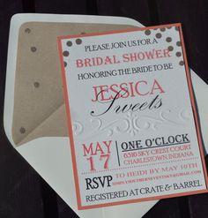 Coral & Gold Bridal Shower Invite Confetti by SimplySouthernInvite, $4.50