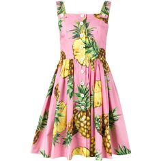 Dolce & Gabbana Pineapple Print Dress ($1,410) ❤ liked on Polyvore featuring dresses, button front sleeveless dress, print dresses, multi colored dress, pineapple print dress and colorful dresses