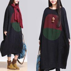 autumn Leisure Loose Contrast Pattern Print 100% Linen Women's Long Dress