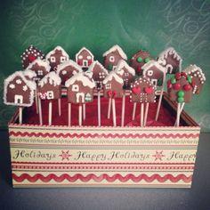Gingerbread house cake pops #Christmas #cakepops