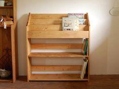木の絵本棚(Bタイプ) W90 ブラウン・ラージサイズ|本棚・絵本棚|sanpomichi|ハンドメイド通販・販売のCreema