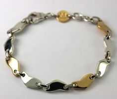 "Movado Two Tone Sterling Silver & 18k Yellow Gold Fancy Link Chain Bracelet 6.5"" #Movado #Chain"