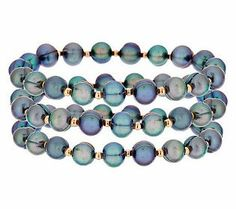 Honora Cultured Pearl Set of 3 Average Bronze Stretch Bracelets