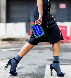 Glittery socks + platform sandals