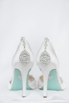 Classic wedding shoes for bride - white, embellished heels {Eric & Jamie Photography}