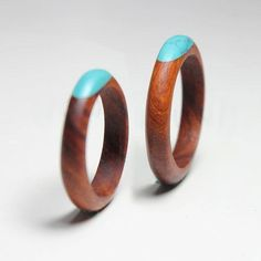Rosewood Ring - Gem turquoise and Wood inlays - Durable exquisite textures Custom Made handmade Wood Rings