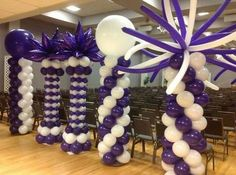 balloon columns in purple and white with different toppers Balloon Topiary, Balloon Pillars, Balloon Tower, Ballon Arch, Balloon Stands, Balloon Garland, Balloon Party, Balloon Backdrop, Ballon Decorations