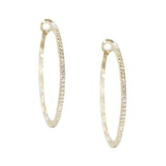 Mary 1.5mm White Diamond Hoops in 14k Yellow Gold - Meredith Marks Designs (Also available in Rose Gold and Sterling Silver)