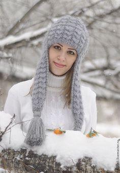 Купить Серая дымка-вязаная шапка с ушками, шапка на подкладе. - серый, шапка вязаная, шапка