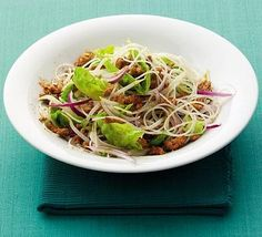 Thai rice noodle salad - This salad is full of flavour and is healthy too, as it's served with an oil-free dressing