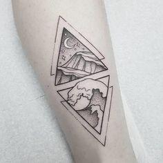 Geometric Mountain Tattoo, Geometric Tattoos Men, Mountain Tattoo Design, Triangle Tattoos, Geometric Triangle Tattoo, Geometric Tattoo Nature, Triangle Tattoo Design, Geometric Tattoo Design, Simple Unique Tattoos