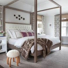 Canopy Bed with Headboard, Transitional, Bedroom, Sherwin Williams Incredible White, Erin Gates Design