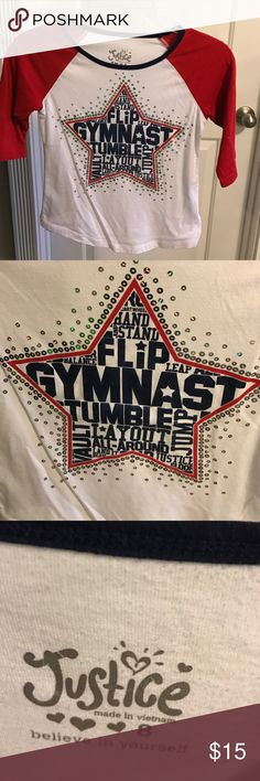 Girls gymnast Justice shirt Red, white and blue Justice gymnast shirt with added bling! Like new!!! 3/4 sleeve Justice Shirts & Tops Tees - Long Sleeve