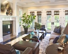 dark floor, white ceiling, for basement  Like wall of French doors...with cellular shades in between glass!!