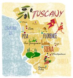 Traveling to Italy and experiencing life under the tuscan sun is a dream for many. This creative and cute map of Tuscany shows you the region and it's prominent cities! Travel Maps, Travel Posters, Places To Travel, Under The Tuscan Sun, Voyage Europe, Travel Illustration, Cinque Terre, Naples, Italy Travel