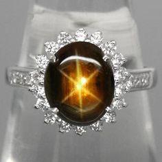 18.5ct Black Star Sapphire Ring - Size 7