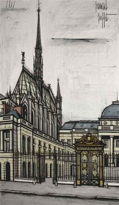 Bernard Buffet - La Sainte Chapelle; Creation Date: 1988; Medium: Oil on canvas; Dimensions: 76.88 X 45 in (195.28 X 114.3 cm)