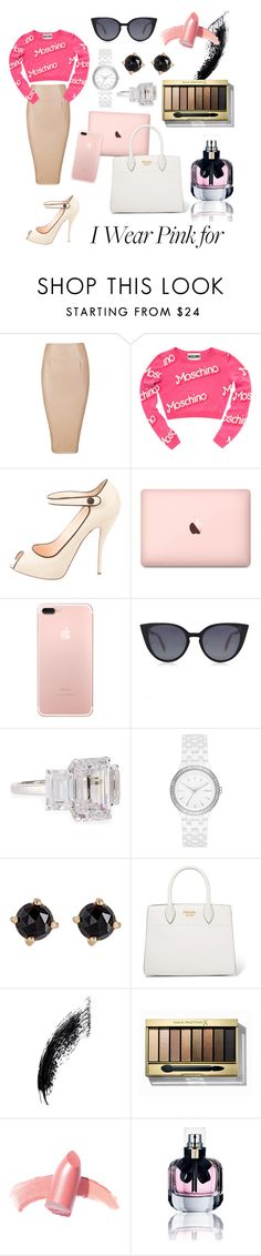 """#iwearpinkfor Fun @ work"" by audi-auds ❤ liked on Polyvore featuring Moschino, Christian Louboutin, Fendi, Fantasia by DeSerio, DKNY, Irene Neuwirth, Prada, Max Factor, Elizabeth Arden and Yves Saint Laurent"
