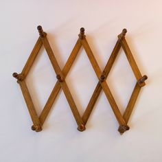 Vintage Wooden Accordion Mug Rack, Expandable Wall Rack, Coat Hooks, Mug Hooks, Wooden Coat Rack, Wooden Peg Wall Hooks, Wooden Wall Hanger by BeanandBethVintage on Etsy