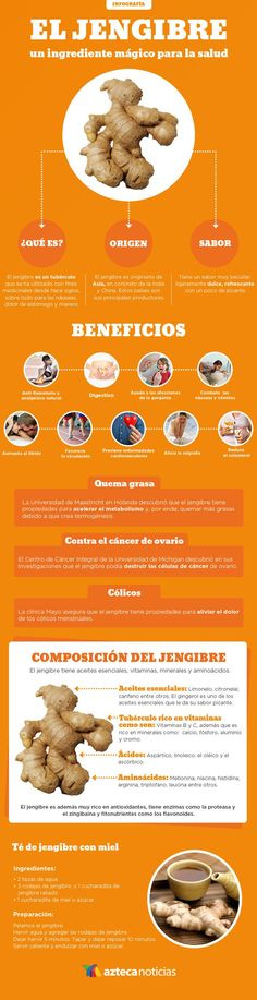 Beneficios y propiedades medicinales del jengibre. #infografia #jengibre Healthy Habits, Healthy Tips, Healthy Recipes, Eat Healthy, Health And Nutrition, Health And Wellness, Health Fitness, Workout Bauch, Food Facts