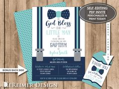 Little Man Baptism Invitation in Navy Blue and Turquoise, BONUS thank you tag file. Self-Editing PDF file, Baby Dedication, Baby Christening, Baby Baptism Invitation Baby Boy Baptism, Baby Christening, Baby Boy Shower, Baptism Invitation For Boys, Christening Invitations Boy, Baby Names 2017, Boy Diaper Bags, Baby Clothes Storage, Baby Dedication