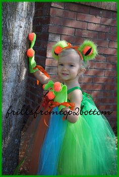 Infant/Toddler 3 pc Green Tree Frog Tutu Dress Sticky Hands Gloves and Frog Eye Headband ... Unique Costume or Party Attire. $65.00, via Etsy.