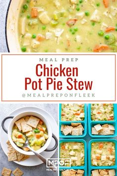 Chicken Pot Pie Stew - Meal Prep on Fleek™ Easy Meal Prep, Easy Meals, Low Calorie Lunches, Cracker Chicken, Chicken Meal Prep, Easy Healthy Recipes, Healthy Foods, Pot Pie, My Favorite Food