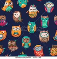 Seamless pattern with tribal owls - stock vector