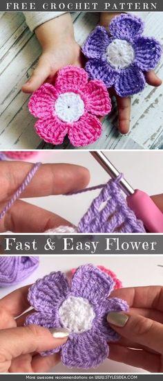 Fast & Easy Flower Crochet Free Pattern #crochetflower #crochet #beginners #flower #freecrochetPatternsforflowers #freecrochetPatternsfordecors