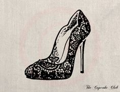 Clip Art Designs Transfer Digital File Vintage DIY Download Shabby Chic Heeled Shoe Lace Fashion Paris France No. 0066. $1.00, via Etsy.