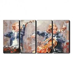 Hand-painted Oil Painting People Oversized Landscape Set of 4 - OutletsArt.com