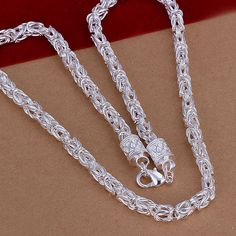 Silver 925 Chains Necklace Fashion Jewelry Accessories Dragon Necklaces for Men Women 20 inch Collares Christmas Gifts Bijoux Mens Chain Necklace, Silver Pendant Necklace, Sterling Silver Necklaces, Silver Jewelry, 925 Silver, Silver Rings, Silver Bracelets, Silver Chain For Men, Chains For Men