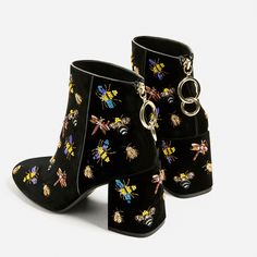 BEADED VELVET ANKLE BOOTS