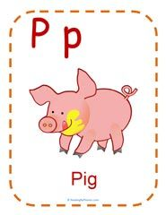 Free printable flashcard for the letter P. Teaching the /p/ sound phonics worksheets.