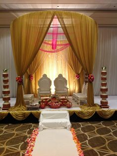 Indian wedding mandap, indian wedding decor, gold and pink mandap created by alankar, in Massachusetts