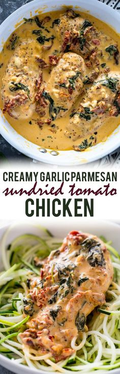 Chicken cooked in a creamy garlic parmesan and sun-dried tomato sauce Cooking Recipes, Healthy Recipes, Sun Dried, I Love Food, Pasta, Nachos, Main Dishes, The Best, Chicken Recipes
