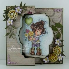 A Die Cut Swing Card featuring 'Amy' from Wee Stamps, by Norma Lee of From My Craft Room. Flip Cards, 3d Cards, Cute Cards, Cards Diy, Kirigami, Card Making Tutorials, Making Ideas, Swing Card, Hobby House
