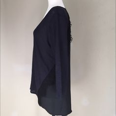 Ann Taylor Linen & Lace Scoop Neck Top M Beautiful feminine piece with durability and charm. The front is navy linen with a black polyester back. Lace details. Slight hi-lo effect allows you to pair with leggings or leggings. Size M. New with tags. Ann Taylor Tops Blouses